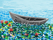 Shesh Tantry Prints - Boat in a Lotus Pond Print by Shesh Tantry