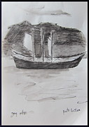 Pen And Ink Prints - Boat in Lisbon harbor Print by Gary Kirkpatrick