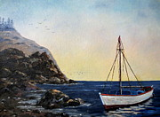 Park Scene Originals - Boat In Maine by Lee Piper