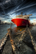Bateau Framed Prints - Boat in Rotterdam Framed Print by Philippe LEJEANVRE