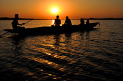 Boat In Sunset On Chilika Lake India Print by Diane Lent
