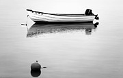 Ocean Images Framed Prints - Boat in the Bay bw Framed Print by John Rizzuto