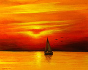 Sunset Greeting Cards Painting Posters - Boat in the Sunset Poster by Bozena Zajaczkowska