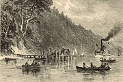 New Jersey Drawings - Boat Landing on the Navesink 1872 Engraving by Antique Engravings