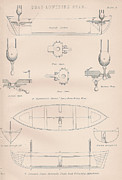 Mechanisms Drawings Framed Prints - Boat lowering gears plate 3 Framed Print by Anon