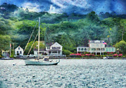 Vintage Houses Prints - Boat - Mystic CT - A good day to sail Print by Mike Savad