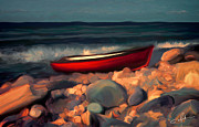 Coastline Digital Art - Boat on a Rocky Beach by Dale Jackson