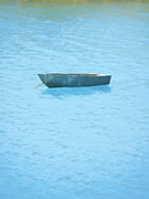 Relaxing Prints - Boat on blue lake Print by Pixel Chimp