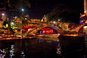 Riverwalk Photos - Boat on canal Riverwalk San Antonio at night by Dan Friend