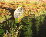 Row Boat Drawings Prints - Boat on Fawn Lakes Print by Kenny King