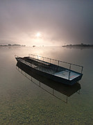 Fog Mist Posters - Boat on foggy lake Poster by Davorin Mance