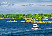 Overcast Art - Boat on Georgian Bay by Elena Elisseeva