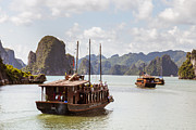 Boat Cruise Posters - Boat on Halong Bay Vietnam Poster by Fototrav Print