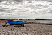 Grey Clouds Prints - Boat on the beach at Rhosneigr Anglesey Print by Georgia Fowler