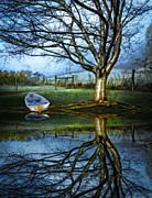 Boat On The Lake Print by Debra and Dave Vanderlaan
