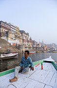 Boatman Framed Prints - Boat on the River Ganges at Varanasi in India Framed Print by Robert Preston