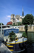 River Prints Prints - Boat on the Seine Print by Kathy Yates