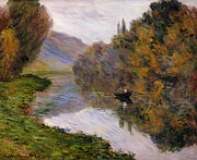 French Framed Prints - Boat on the Seine near Jeufosse Framed Print by Claude Monet