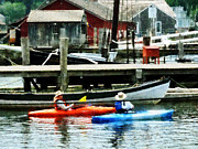 Buildings Art - Boat - Orange and Blue Kayaks Mystic CT by Susan Savad