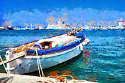 Rhodes Posters - Boat parked in harbor painting Poster by Magomed Magomedagaev