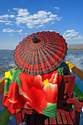 Boat Passanger With Pathein Umbrella Print by Judith Barath