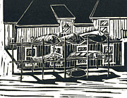 Maine Shore Drawings Prints - Boat Racks Print by Victoria Haskell