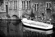 Reflection In Water Prints - Boat Reflection in Bruges Print by John Rizzuto