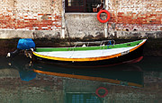 Reflections In Water Prints - Boat Reflections in Venice Print by John Rizzuto