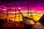 Purple Artwork Posters - Boat - Sailing - Fleet week Poster by Mike Savad