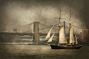 Manhattan Bridge Prints - Boat - Sailing - Govenors Island NY - Clipper City Print by Mike Savad