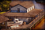 Vintage River Scenes Framed Prints - Boat - Tuckerton Seaport - Hotel DeCrab  Framed Print by Mike Savad