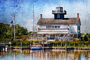 Blue Sailboat Posters - Boat - Tuckerton Seaport - Tuckerton Lighthouse Poster by Mike Savad