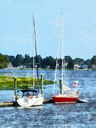 Designs By Susan Prints - Boat - Two Docked Sailboats Norwalk CT Print by Susan Savad
