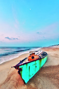 Storm Prints Photo Prints - Boat Under Morning Moon Outer Banks I Print by Dan Carmichael