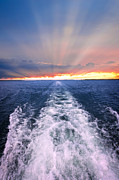 Sunbeams Metal Prints - Boat wake on Georgian Bay  Metal Print by Elena Elisseeva