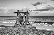 Lowestoft Framed Prints - Boat winch 1 - mono Framed Print by Steev Stamford