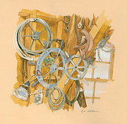 Boat Hardware Prints - Boat Workshop Interior Print by Elizabeth Whelan