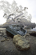 Randall Nyhof - Boat wreck beached on a misty rocky shore amidst flying Gulls