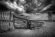 Versprill Framed Prints - Boat Wreckage BW Framed Print by Michael Ver Sprill