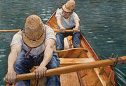Oars Painting Posters - Boaters Rowing on the Yerres Poster by Gustave Caillebotte