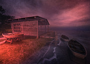 Row Boat Digital Art - Boathouse by Kylie Sabra