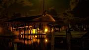 Michael Digital Art Posters - Boathouse Night Glow Poster by Michael Thomas