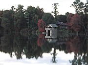 Photos Of Autumn Framed Prints - Boathouse reflection Framed Print by Lisa Savino