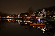 Rowing Crew Digital Art Prints - Boathouse Row All Lit Up Print by Bill Cannon