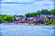 Schuylkill Prints - Boathouse Row Along the Schuylkill River Print by Bill Cannon