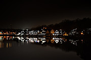 Boathouse Row Framed Prints - Boathouse Row at Night Framed Print by Bill Cannon