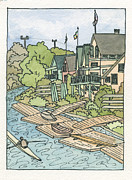 Philadelphia Painting Prints - Boathouse Row Print by Cee Heard