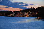 Boathouse Row Framed Prints - Boathouse Row dusk Framed Print by Jennifer Lyon