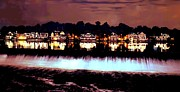 Schuylkill Digital Art Prints - Boathouse Row in the Night Print by Bill Cannon