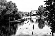 Row Boat Digital Art Prints - Boathouse Row Lagoon in Black and White Print by Bill Cannon
